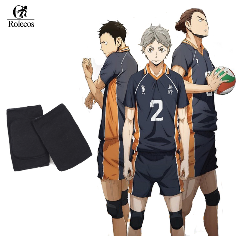 Haikyuu! Karasuno High School Volleyball Hinata Shyouyou Kneepad Adjustable Sports Leg Knee Support Brace Wrap Protector Pad Cap