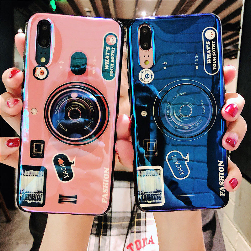 Fashion <font><b>3D</b></font> Cute Retro Camera Phone <font><b>Case</b></font> For <font><b>Oneplus</b></font> 7 7 Pro <font><b>Cases</b></font> Silicone TPU Cover + lanyard For <font><b>Oneplus</b></font> <font><b>6</b></font> 6T 5 5T <font><b>Case</b></font> Stand image