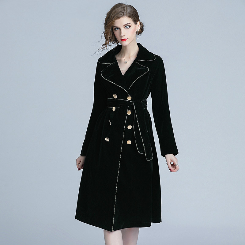 2019 New Autumn Winter Black Velvet Trench Coat Women Notched Collar Gold Double Breasted With Belt Thick Warm Trench Outwear