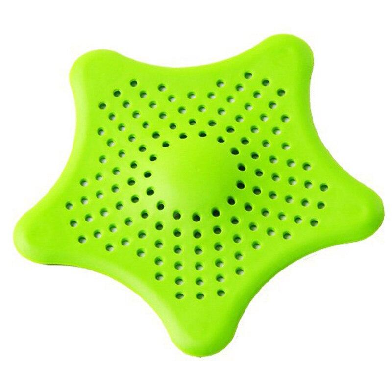 Кухонный Силиконовый Фильтр для раковины с пятиконечной звездой, фильтр для ванной комнаты на присоске, напольные стоки для душа, канализационный фильтр для волос, дуршлаги - Цвет: green