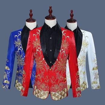 Fashion Embroidery Shawl Collar Tuxedo Suit Blazer Men Wedding Groom Singer Prom Suit Jacket Men Nightclub Stage Costume Homme