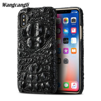 Brand genuine crocodile skin mobile phone case for iPhone X back cover protective case Genuine leather for iphone 7 8 case