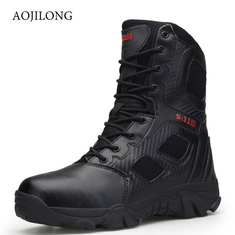 Botas militares de marca de calidad para hombre, botas tácticas de combate del desierto, zapatos de exterior con cordones para hombre, zapatos de senderismo, Zapatillas deportivas altas
