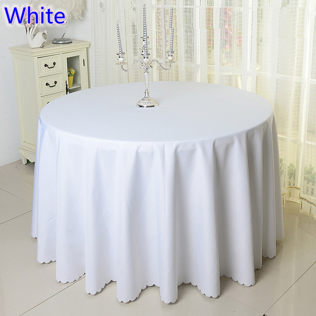 White Colour Wedding Table Cover Table Cloth Polyester Table Linen Hotel  Banquet Party Round Tables Decoration