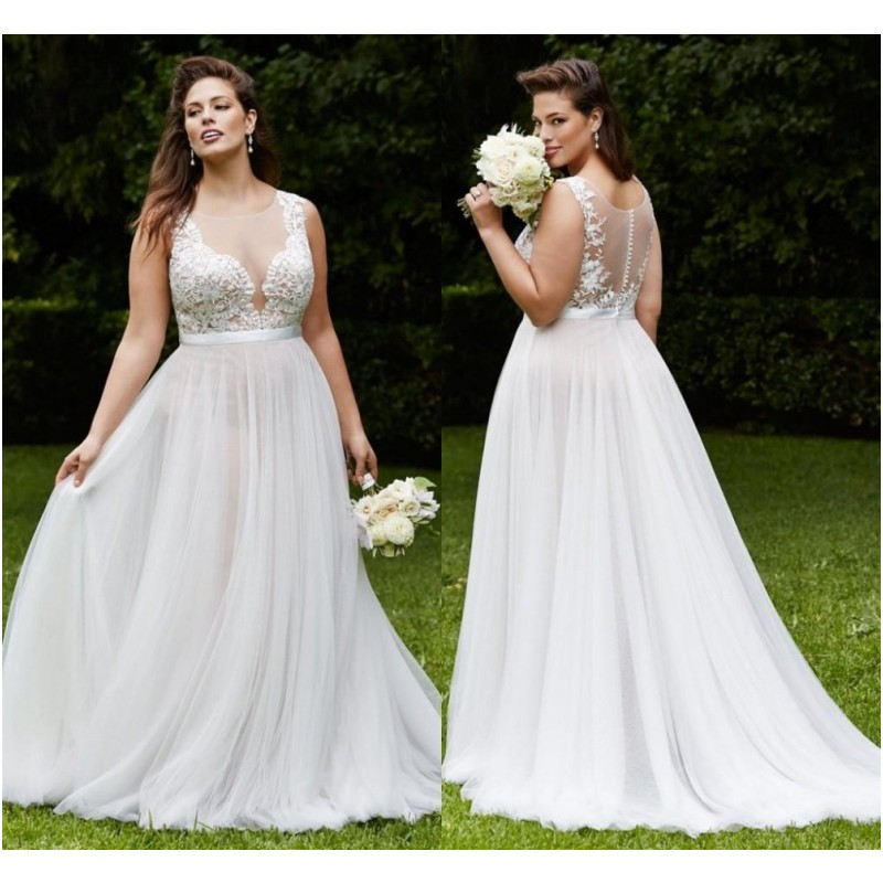 Plus Size Wedding Dresses Summer Beach Bridal Gowns Sheer Back Lace ...