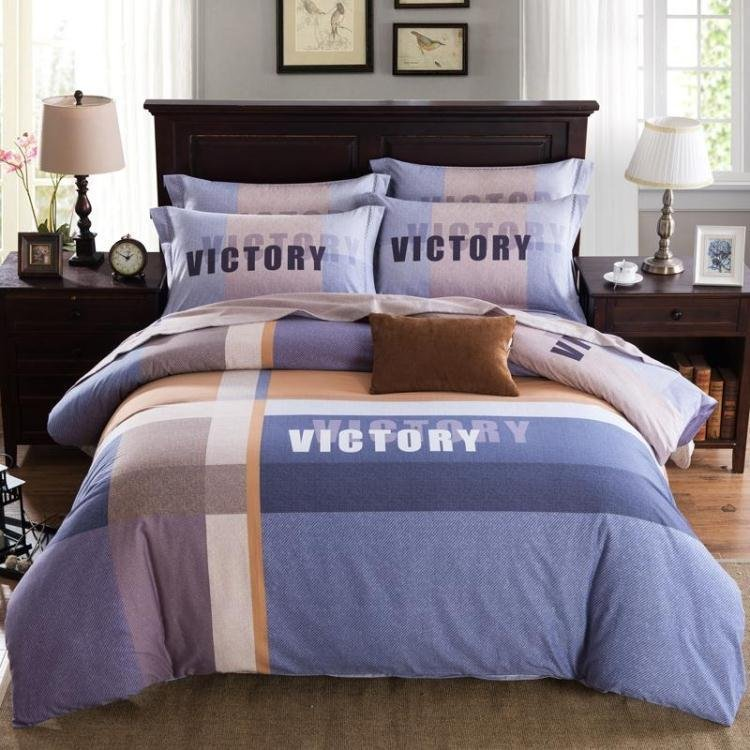 New Sanding 100% Cotton Printed Flower Bedding Set Cartoon Bed Sheet set Duvet Cover Pillowcase Queen King 4pcs blue stripeNew Sanding 100% Cotton Printed Flower Bedding Set Cartoon Bed Sheet set Duvet Cover Pillowcase Queen King 4pcs blue stripe
