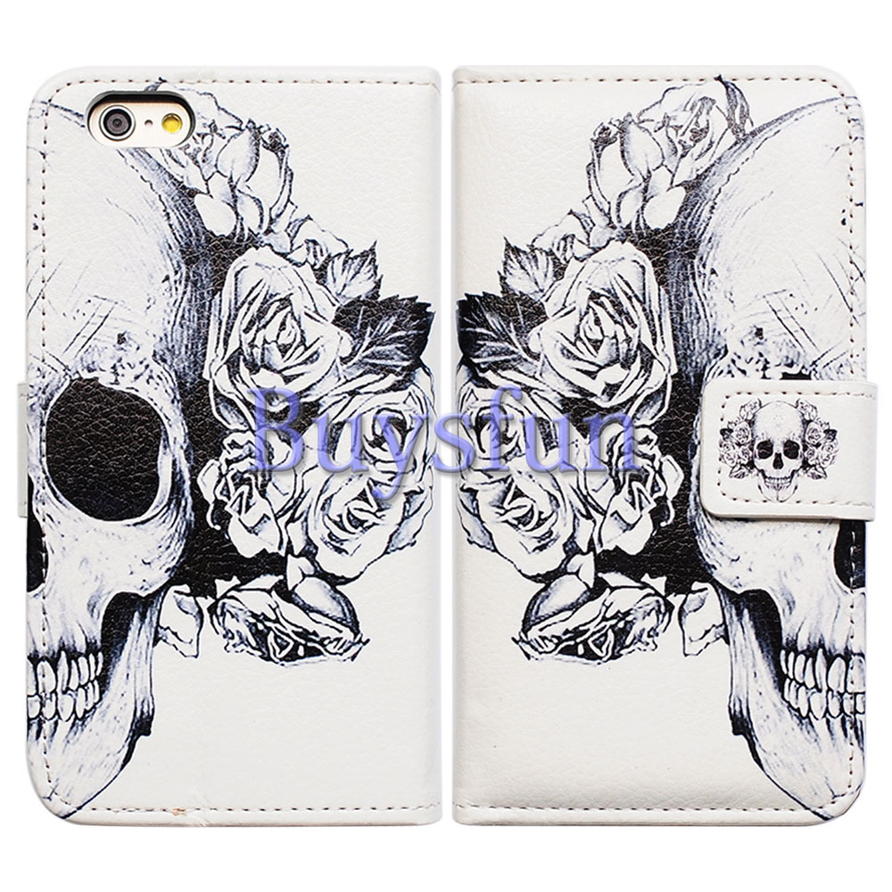 Bcov White Floral Skull Card Slot Wallet Leather Cover Case for iPhone 6 Plus 100015662