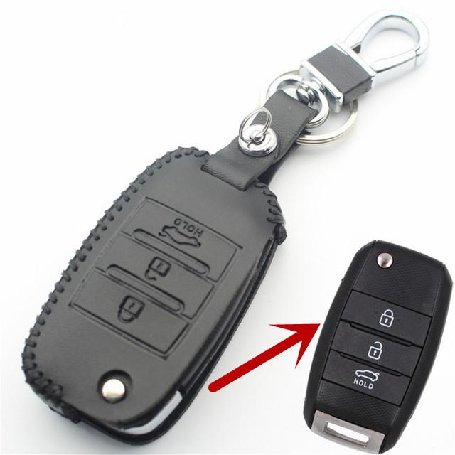 FLYBETTER Genuine Leather Key Case Cover For Kia KX3/KX5/K3S/RIO/Ceed/Cerato/Optima/K5/Sportage/Sorento/K2/Soul/K3 Car Styling