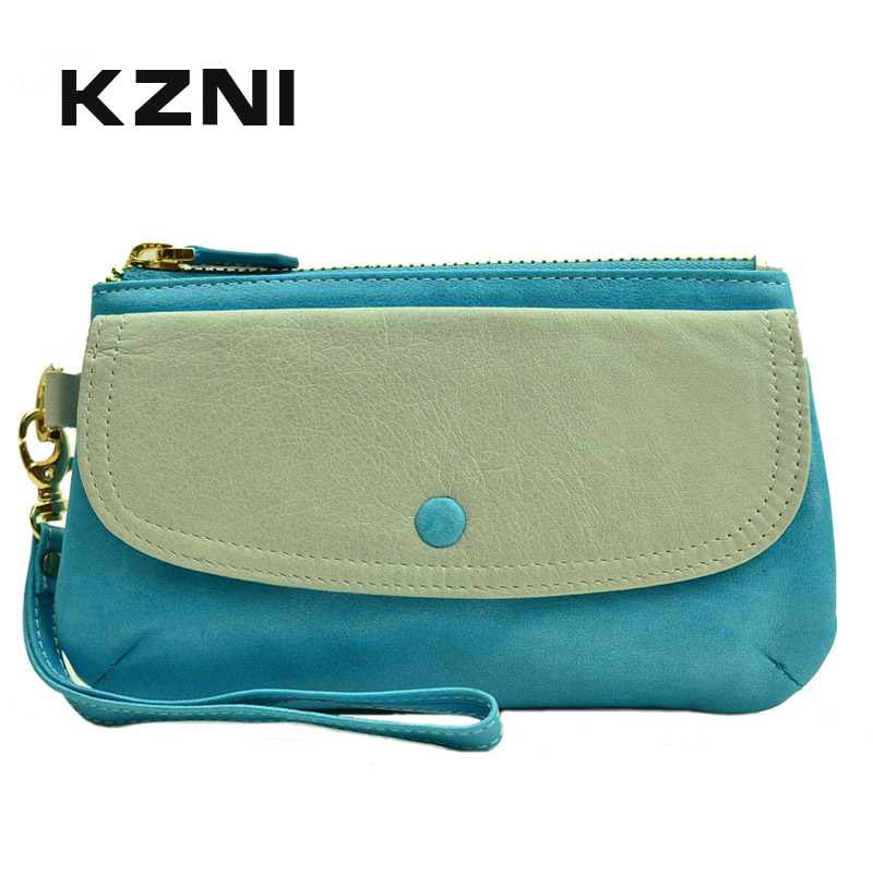 KZNI Wallet Female Designer Womens Purse Genuine Leather Money Wristlet Clutch Purses for Women Luxury Wallet Money Bag 2113
