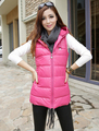 Female Cotton-Padded Jacket Down Vest Plus Size 4XL Outerwear Solid Color Medium-Long PU with A Hood Women Waistcoat Multicolor