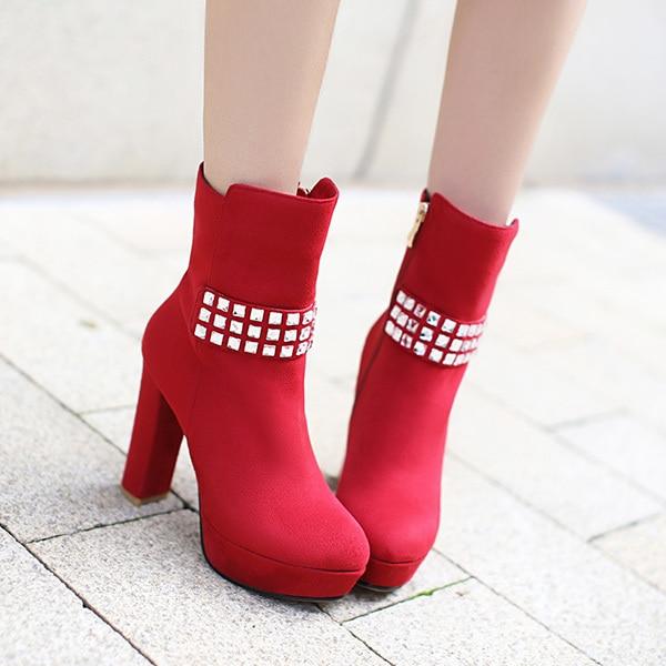 ФОТО Women Ankle Boots 2014 Fashion Rhinestone and Pu Leather Platform Stiletto Heel Autumn Winter Boots Plus Size 34-43 XY329