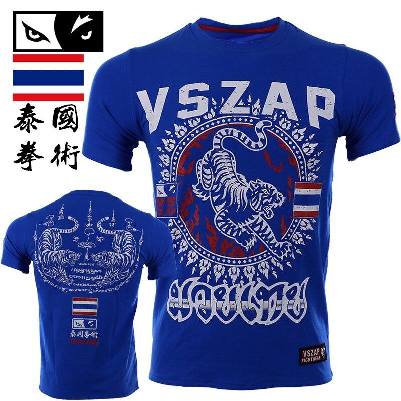VSZAP Boxing MMA T Shirt Bangkok Gym Tee Fighting Martial Arts Fitness Training Men