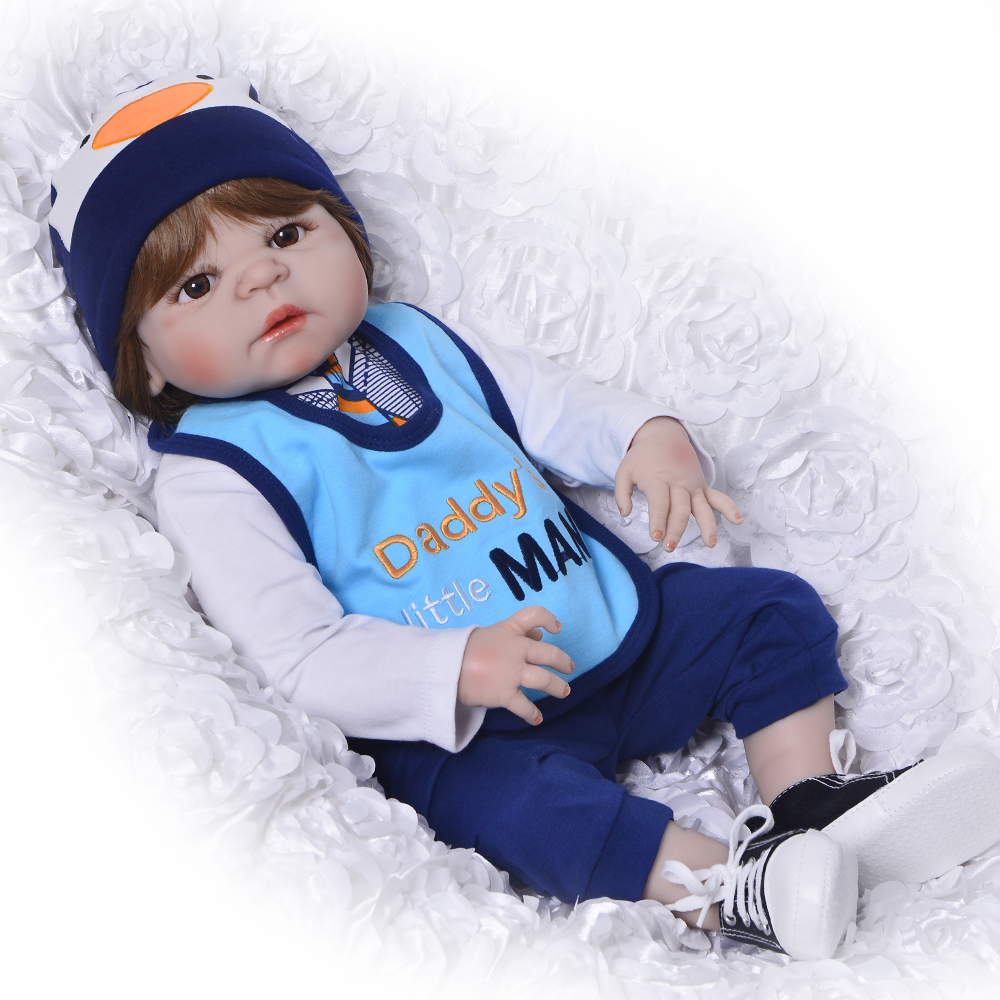 Newborn Doll 23 Inch  Full Silicone Vinyl Reborn Babies Boy Handmade Reborn Dolls Realistic Toddler For Kids XMAS Birthday Gifts 18 inch dolls handmade bjd doll reborn babies toys for children 45cm jointed plastic toy dolls for girls birthday gifts juguetes