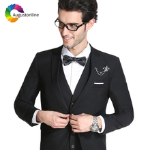 2019 Men Suits For Wedding Black Bridegroom Groom Prom Slim Fit Formal Blazer Custom Tuxedo Best Man Costume Jacket+Pants+Vest цена
