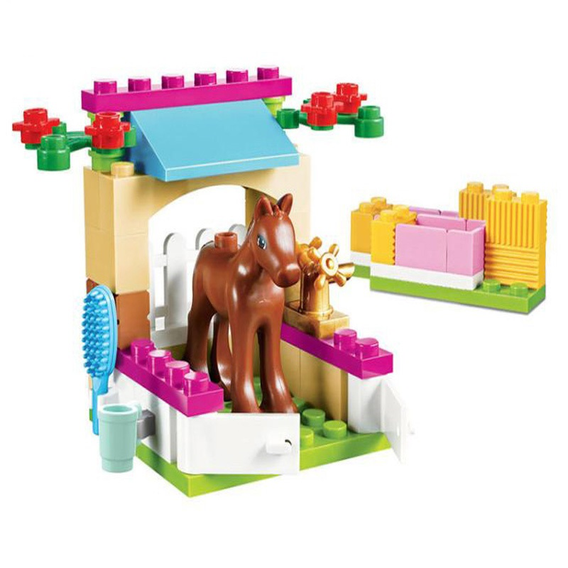 43pcs Horse Little Foal Stables Building Bricks Blocks Sets Christmas Gift Toy Compatible Lepine Friends 41089 for girl lepine 16008 cinderella princess castle 4080pcs model building block toy children christmas gift compatible 71040 girl lepine