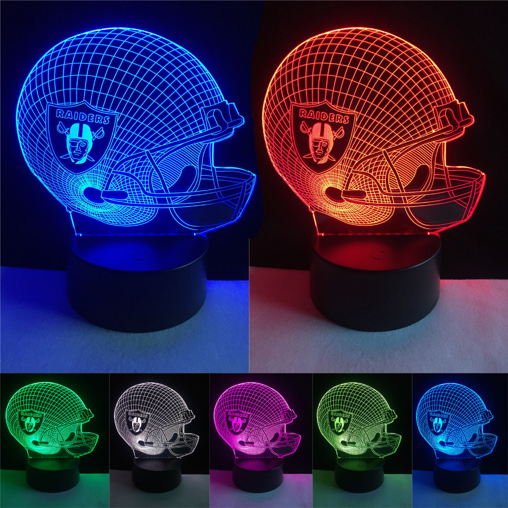 Luminaria 3D Football Sports Team Logo Cap Helmet 7 Colorful Gradient Night Light Child Baby Frand Fans New Year Party Xmas Gift
