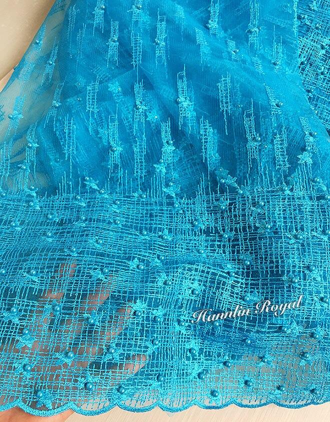 Türkis blau Schottischen stil perlen Afrikanischen französisch spitze tüll stoff Nigeria garment nähen tuch 5 yards hohe qualität heißer verkauf-in Spitze aus Heim und Garten bei  Gruppe 3