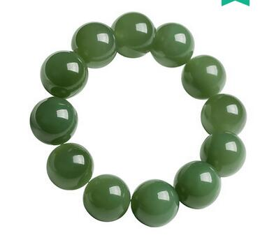 Selling Jewelry>>>Xinjiang Hetian 10mm  jadeite green water bracelet men natural jadeite beads