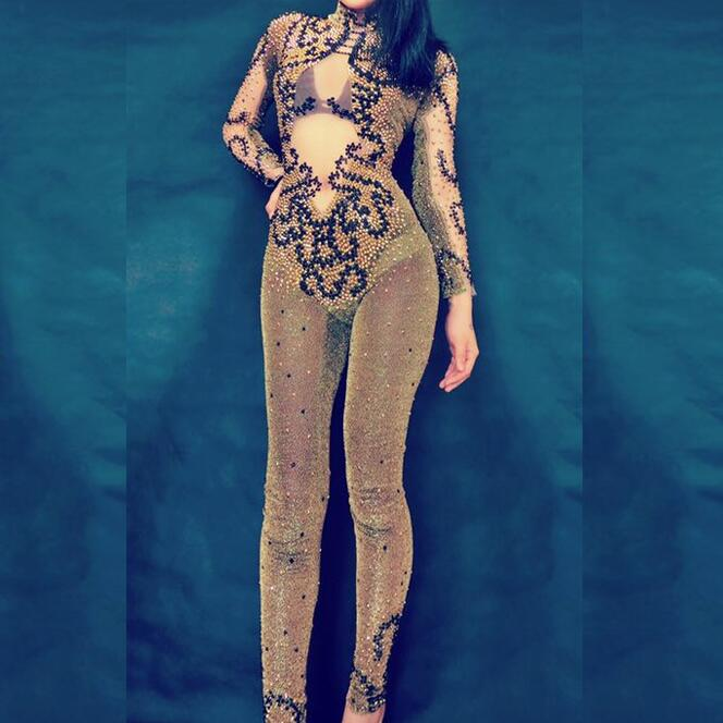 Sexy Gold Black Beads Jumpsuit Women Leggings Outfit Party Costumes Stage Wear BodySuit Dance Singer Rhinestones