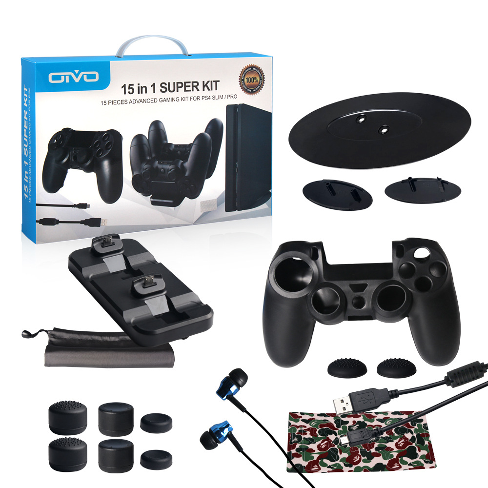 PS4 Accessories kit ,15 in 1 Super kit ,15 Pieces Advanced Gaming Kit For PS4 SLIM / PRO