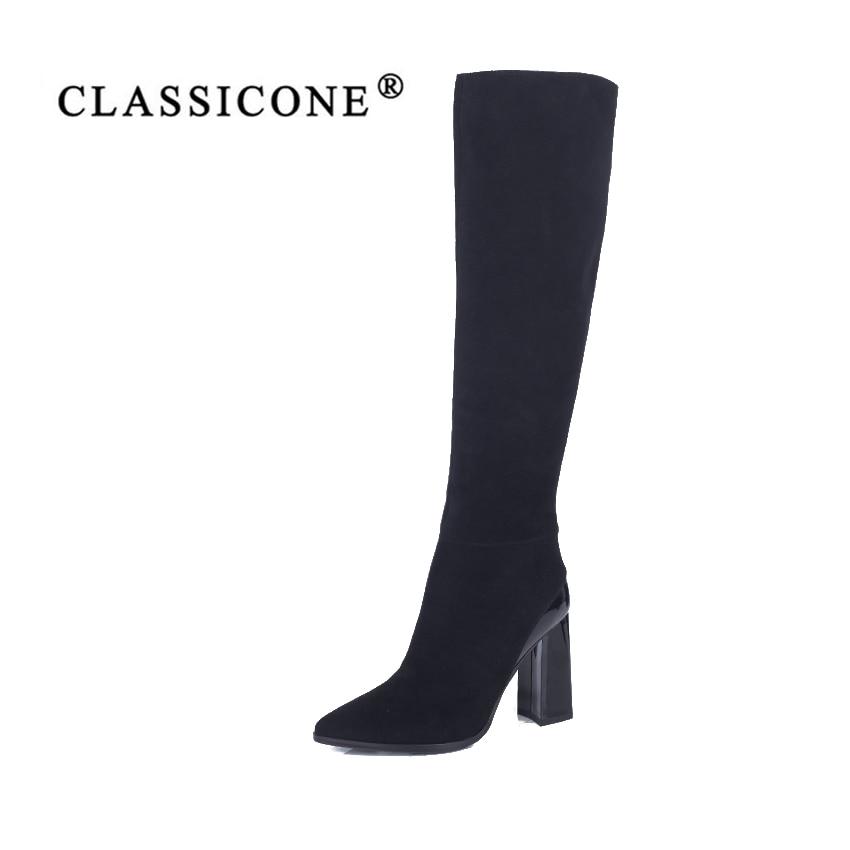 CLASSIOCNE2018shoes mujer nieve botas de invierno de cuero genuino lana caliente tacones altos marca diseñadores de moda lujo punta estrecha