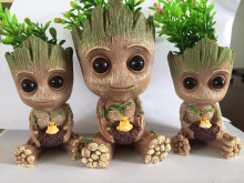 Cute Baby Groot Flowerpot Flower Pot Planter Action Figures Guardians of The Galaxy Toy Tree Man Pen Flower Pots Good Quality 14cm baby groot guardians of the galaxy flowerpot action figures cute model toy pen pot best christmas gifts kids hobbies