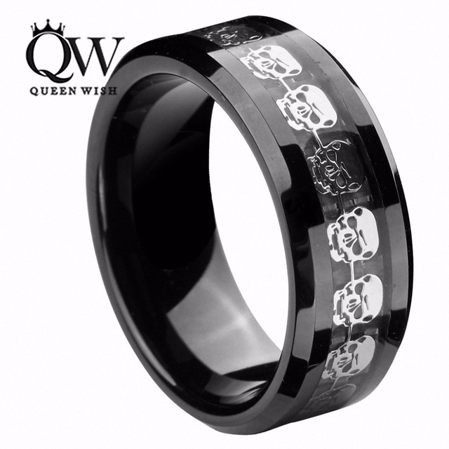 Queenwish Black Tungsten Carbide Rings Men Silver Skull Skeleton Inlay Wedding Band Promise Matching