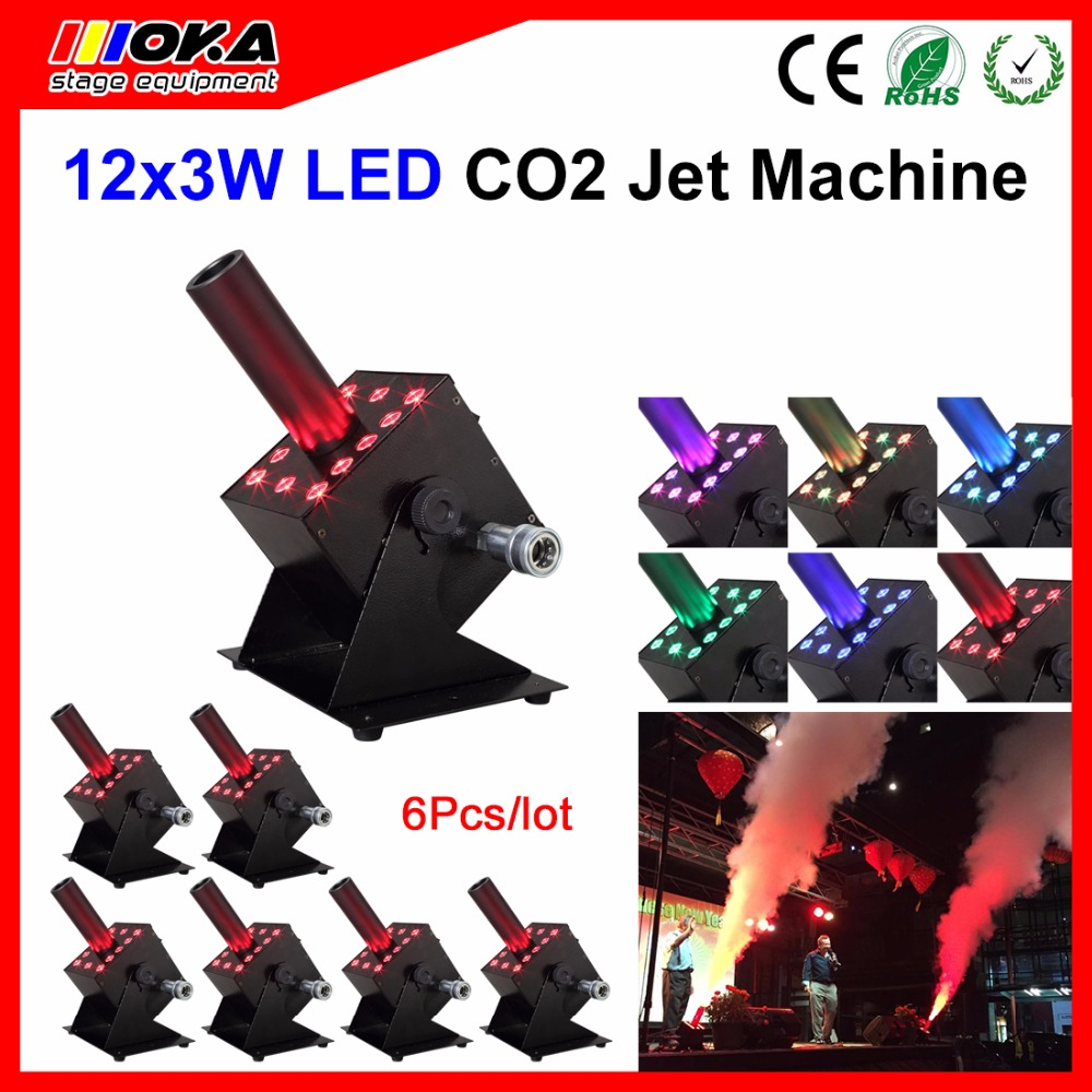 6 Pcs/lot DJ Equipment multi angle DMX512 7 channels control 12*3W led lamps CO2 Jet Machine cannon DMX Cryo Co2 FX Jets shoot