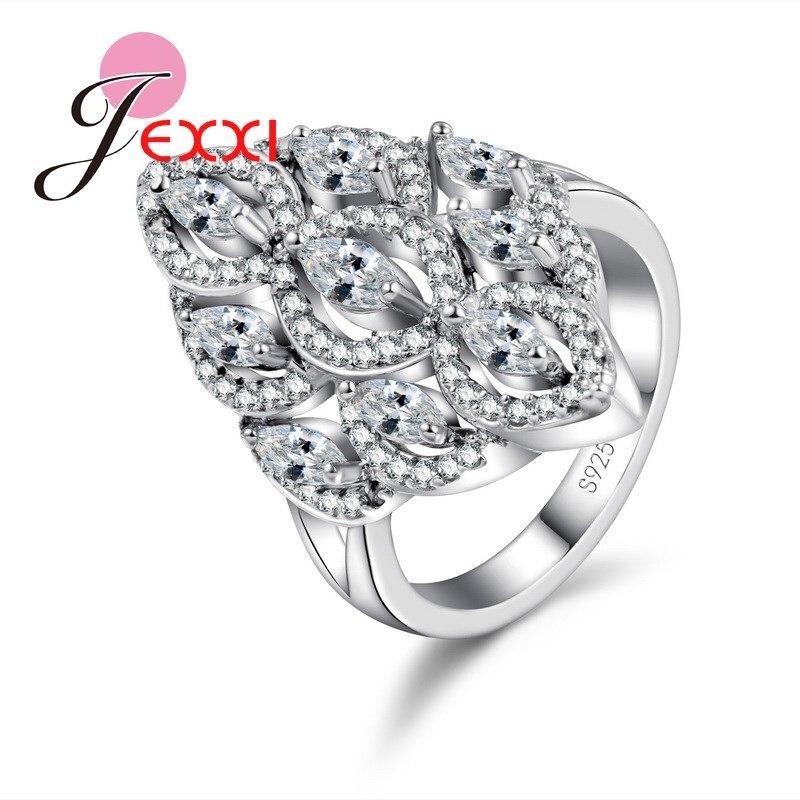 dbc5f806f78d JEXXI joyería nupcial de la manera de plata esterlina 925 boda anillo de  compromiso para las mujeres de moda para el partido