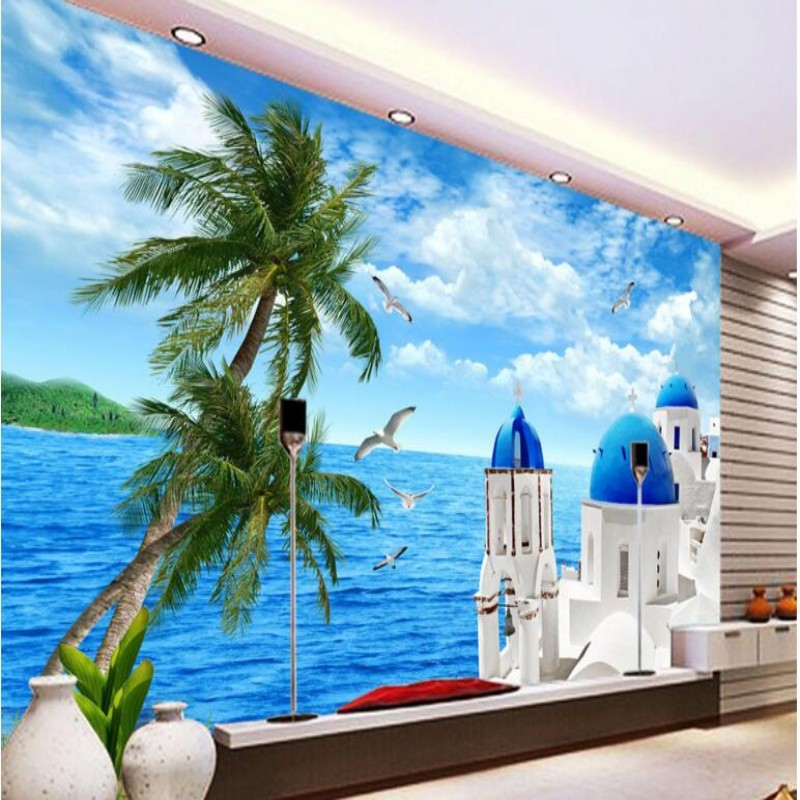 Beibehang papel de parede 3 d family decorate the living room custom wallpaper Sea coconut palm 3 d large photo wallpaper murals