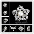 10pcs/lot High-grade Noble clear small crystal brooches Flower bouquet silver wedding brooch clothes pins Spot provide bouquet