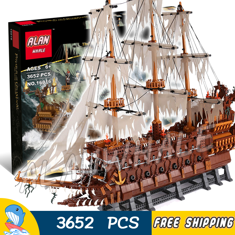 3652pcs Battle Ship Pirates of the Caribbean The Flying Dutchman Flagship 16016 Model Building Blocks Toys Compatible With lego lepin 16016 3652pcs movie series flying the dutch blocks bricks toys for children compatible legoing pirates caribbean