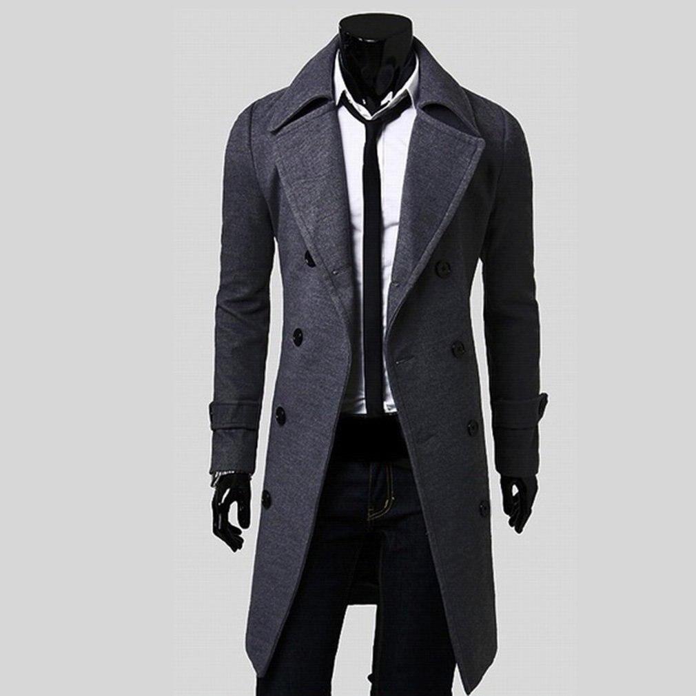 2018 Men Turndown Long Coat Autumn Winter Outwear Bomber Jacket Plus Size M-3XL   Trench   Male Streetwear Steam Punk Overcoat