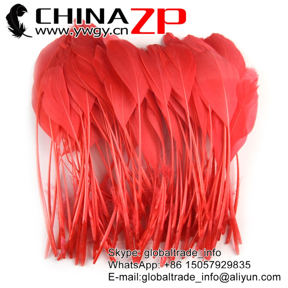 Gold Manufacturer CHINAZP Factory 100pcs/lot 15~20cm(6~8inch) Length Beautiful Dyed Watermelon Red Stripped Goose Feathers