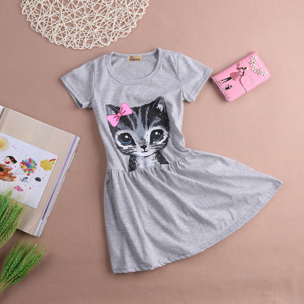 Hot Sale New 2017 summer girl dress cat print grey baby girl dress children clothing children dress 0-8years kids dresses novatx h5023 girls clothes reatil new summer baby girl causal bow dress children girl clothing dresses for girl dress hot top