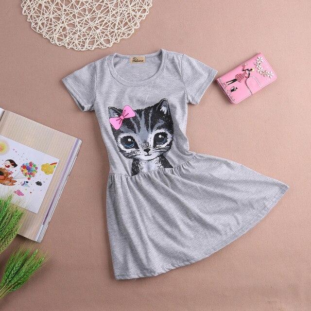 Venta caliente de la nueva del verano 2017 la impresión del gato del vestido gris ropa de los niños del vestido del bebé vestido de los niños 0-8years niños vestidos
