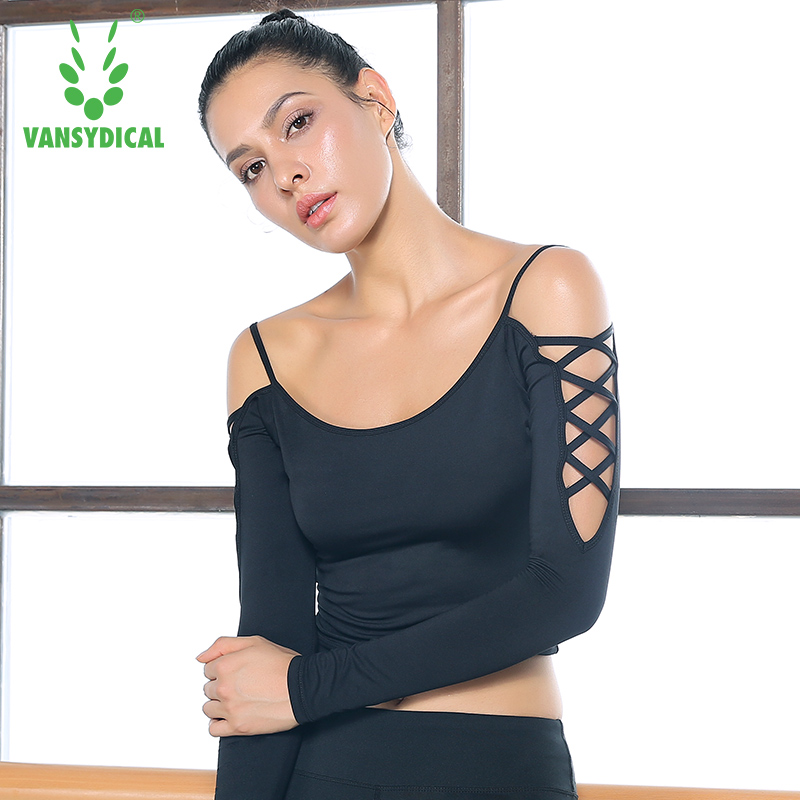 Sexy Crop Top Women font b Yoga b font Shirt Elastic Leakage shoulder Dance Long Sleeve