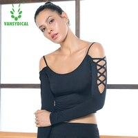 Sexy Crop Top Frauen Yoga Hemd Elastische Leckage schulter Dance Langarmshirt Vansydical Mädchen