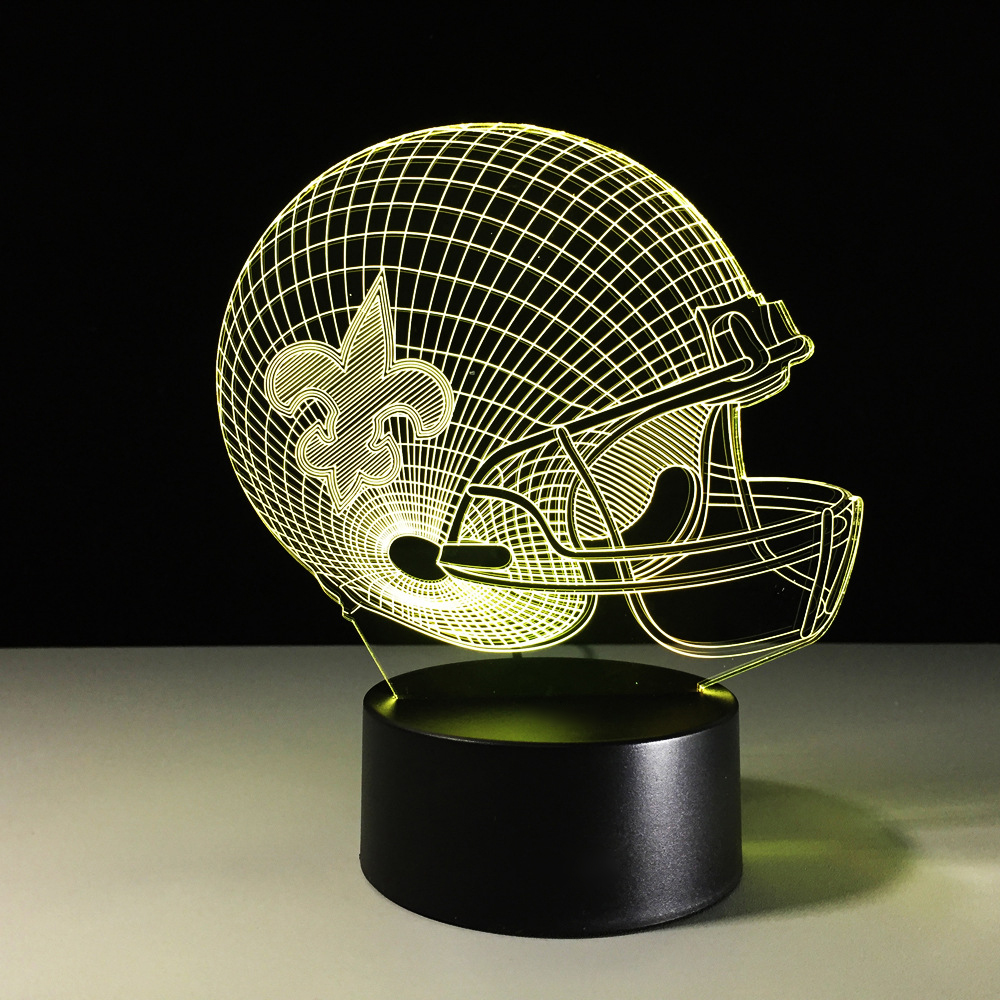 Creative Football Helmet 3D Night Light Colorful USB LED Saint Desk Lamp Souvenirs Rugby Cap Xmas Gift Baby Sleep Lighting Decor