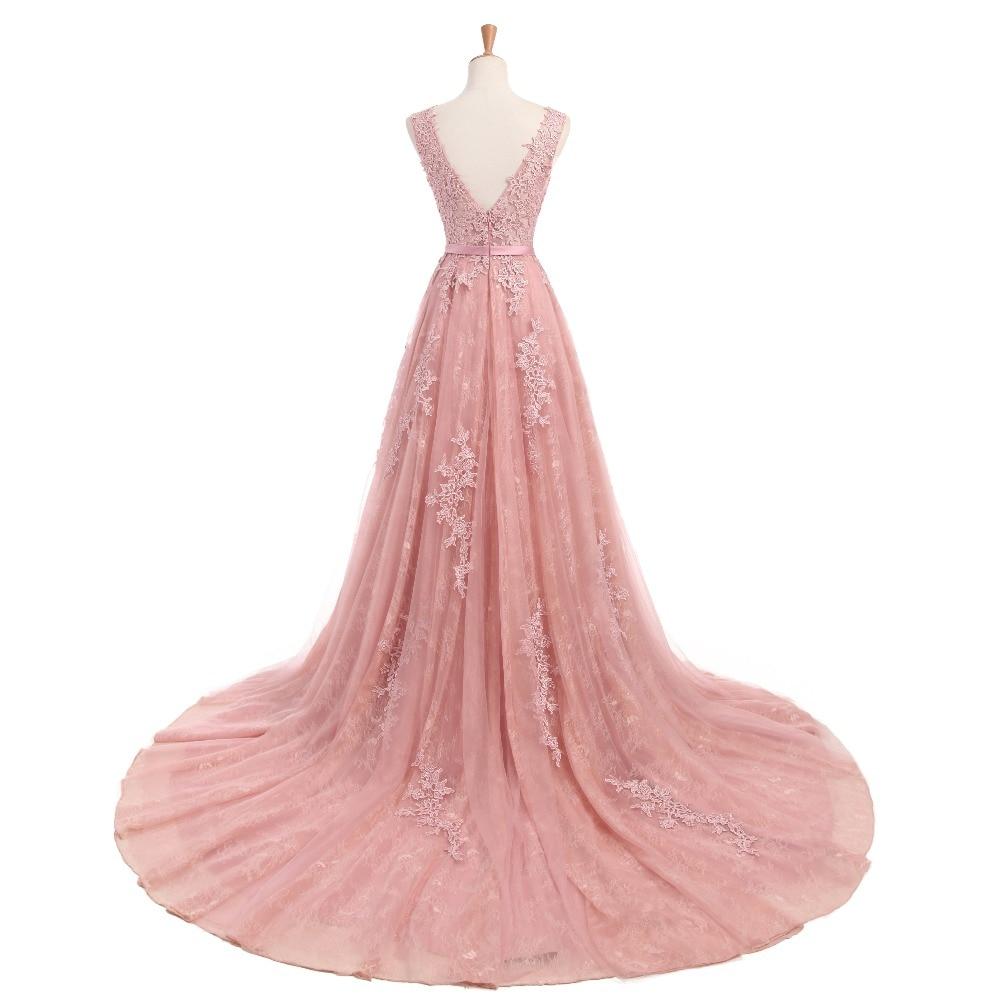 Dusty Rose Elegant Long Evening Dresses 2017 A-Line Lace Appliqued - Särskilda tillfällen klänningar - Foto 2