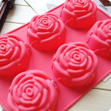 Long-term supply silicone cake mold 6 even rose silicone cake mould Ice cream pudding jelly mould soap mold(China)