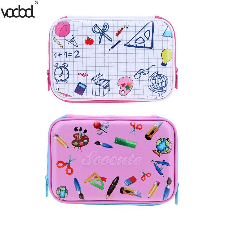 VODOOL EVA Cute Grid Pencils Case Large Capacity Stationery Pen Holder Organizer Box Material Escolar Papelaria Office School