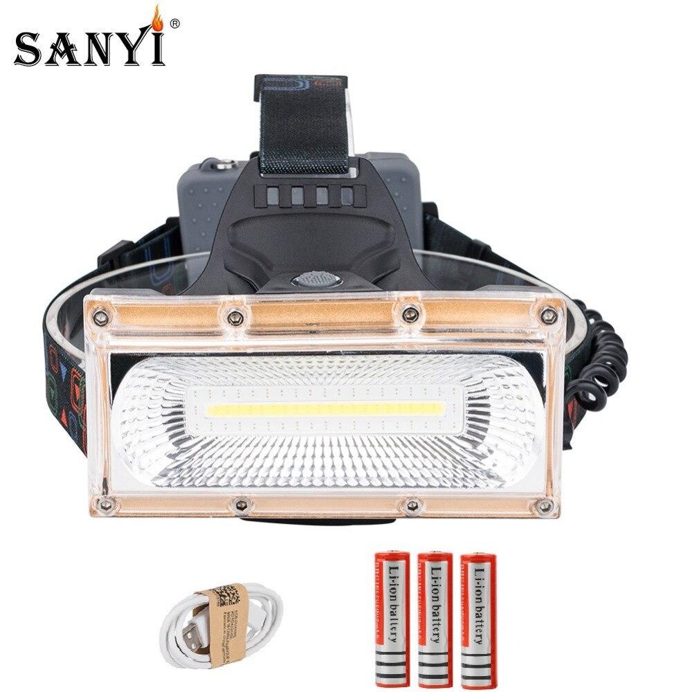 USB Power COB LED Scheinwerfer Scheinwerfer USB Aufladbare Kopf Lampe Taschenlampe 3-Modus 18650 Batterie Wasserdichte Jagd Angeln Beleuchtung