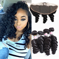 Peruvian Loose Wave With Frontal Ear To Ear Lace Frontal Closure With Bundles Loose Wave Hair Bundles With Lace Frontals 5pcs