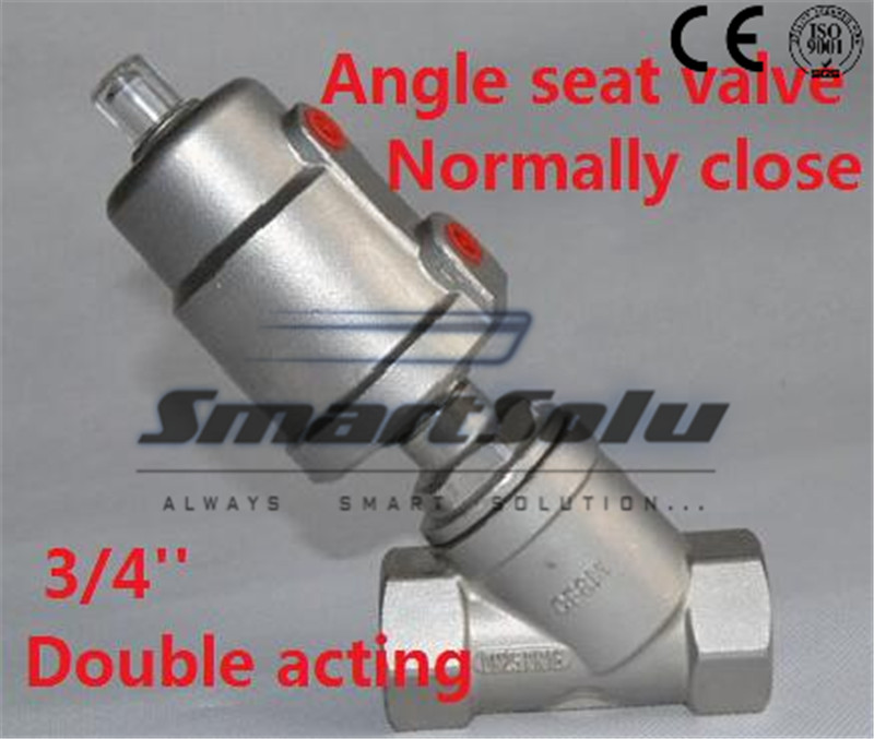 Free shipping angle seat valve stainless steel actuator DN20 3/4 inch normally close double acting for high temperature steam free shipping seat actuator double cheap steam water stainless steel valve angle dn25 1 inch normally open for air