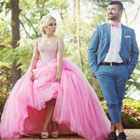 Princess Style Wedding Dress Ball Gown Crystals And Pearls Imported Bride Dress Pink Colored Dress For Bride