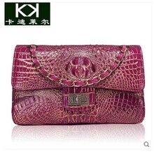 kadiler new winter Thailand crocodile handbag inclined shoulder bag women bag leather single shoulder bag chain bag