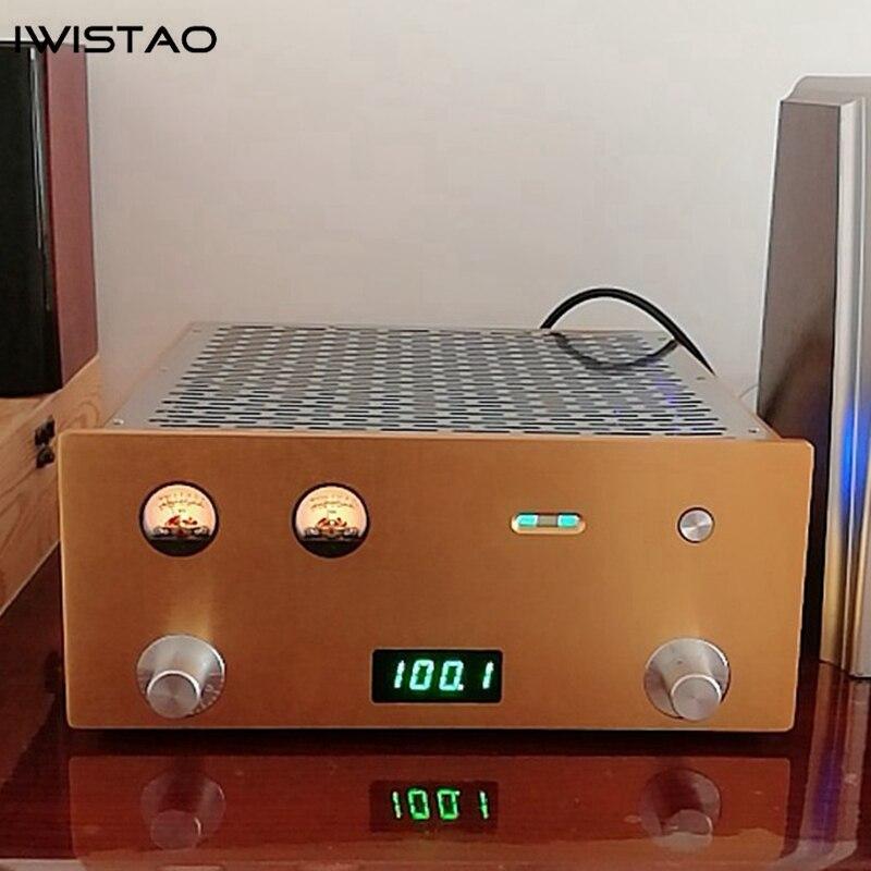 IWISTAO tubo de Radio FM estéreo amplificador de potencia integrado 6P1 2X3,5 W todo chasis de aluminio de oro de alta sensibilidad, de alta fidelidad de Audio