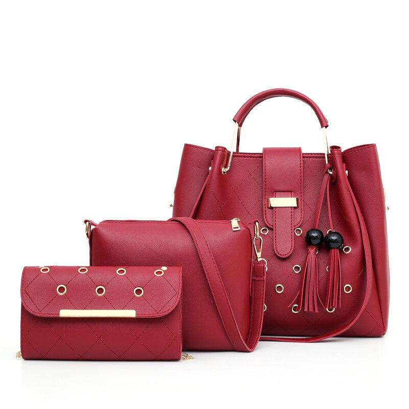 Ladies Set Bags 3 pcs pu leather 2019 woman black fashion Handbag crossbody Shoulder bags for women bucket casual tote bag