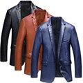 2016 Осень и Зима новый приход бизнес случайный кожаная куртка Моде тонкая одной кнопки качества PU кожаная куртка мужчины М-3XL
